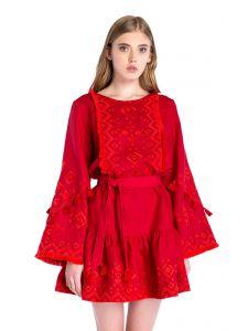 Модная женская одежда Льняное платье с вышивкой Red Mary