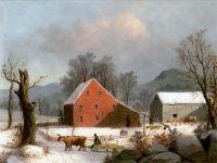 Фермерский двор зимой с волами, запряженными в сани