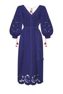 """Платье вышиванка ручной работы """"Ирина"""" синее миди платье"""