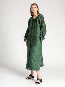 Зелена лляна сукня з геометричною вишивкою Borodina Dark
