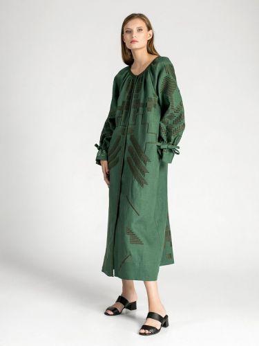 Зеленое льняное платье с геометрической вышивкой Borodina Dark