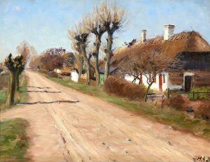 Брендекильде Ганс Андерсен Летний день с домами вдоль проселочной дороги