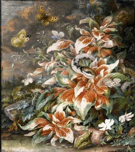 Бароко Лісовий натюрморт зі змією, жабою, кониках і метеликах навколо великого рослини