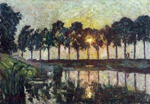 Клаус Эмиль Деревья у озера, закат