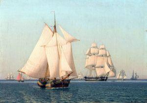 Эккерсберг Кристоффер Вильхельм Корабли под парусами в слабый ветер в ясный летний день