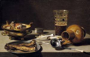 Барокко Натюрморт с рыбой, кувшином, бокалом и курительными принадлежностями