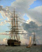 Русский линейный корабль Азов и фрегат на якорь на рейде в Эльсинор