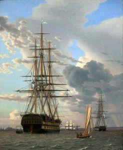Класицизм Російський лінійний корабель Азов і фрегат на якір на рейді в Ельсінор