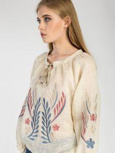 Женские вышиванки Вышитая льняная блуза на резинке Nature