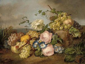 Барокко Натюрморт с цветами и фруктами в пейзаже