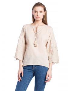 Женские вышиванки Бежевая льняная блузка с бахромой Ribbon Beige