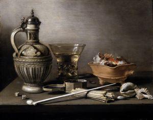 Клас Питер Натюрморт с керамическим кувшином, беркемайером и курительными принадлежностями