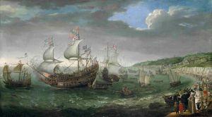 Посадка курфюрста Палатина на 55-пушечный корабль Prince Royal в Дувре, 25 апреля 1613