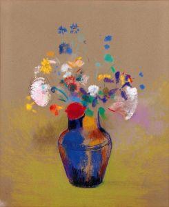 Редон Одилон Цветы на сером фоне
