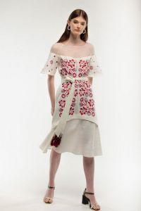 Женские вышиванки Платье вышиванка Ягидка молочное