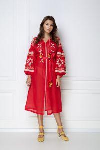 Одежда из льна «Тина» красное платье-миди