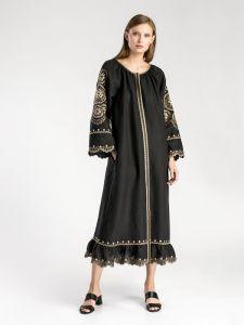 Купить вышиванку в Киеве Богемное макси-платье черного цвета Gothic