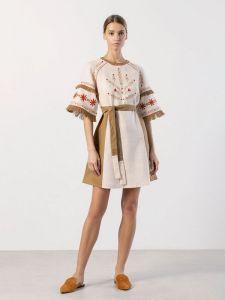 Вишиті сукні Вишита сукня бежевого кольору з бахромою BELL