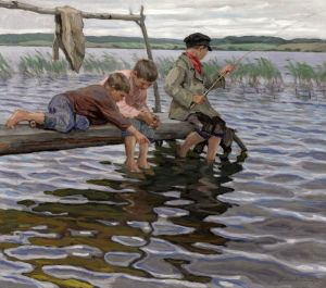 Богданов-Бельский Николай Рыбалка детей с мостков