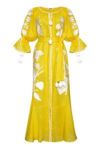 """Платье вышиванка ручной работы """"Эдем"""" желтое макси платье"""