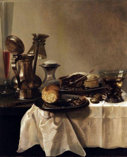 Натюрморт с оловянной посудой, ежевичным пирогом и др. объектами