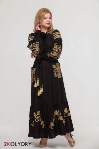 """Платье вышиванка """"Восточный сад"""" чорное"""
