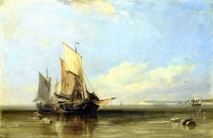Кук Эдвард Уильям Рыбацкие лодки в Онфлёре в безветренную погоду, вдали Гавр