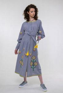 Платье вышиванка ручной работы Вышитая платье Маланка серая