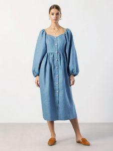 Платье вышиванка ручной работы Легкое льняное миди платье Hay Blue