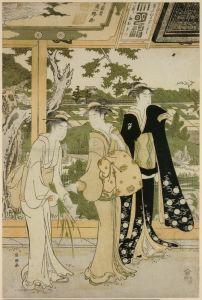 Восточная живопись Посещение храма