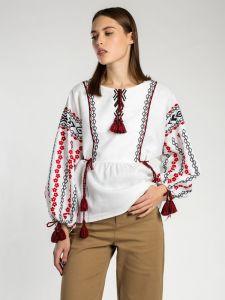 Женские вышиванки Белая вышиванка со льна BAT WHITE