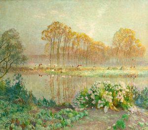 Клаус Эмиль Пейзаж с прудом и цветами