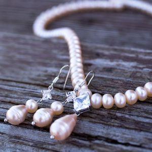 Комплект натуральні персикові перли і рідкісні краплі