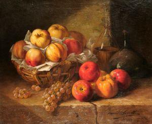 Брюнель де Нёвиль Альфред-Артур Натюрморт с фруктами на каменном выступе