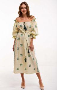 2KOLYORY Платье вышиванка Барвинок желтое