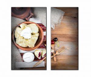 Модульные картины Украинские вареники с капустой, сыром и вишнями №1