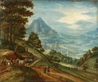 Панорамный пейзаж с путниками