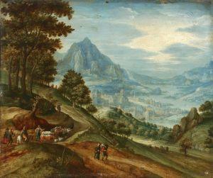 Барокко Панорамный пейзаж с путниками