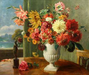 Печатные картины на холсте Натюрморт с цветами и бронзовой скульптурой