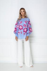 Одежда из льна «Камелия» голубая блуза