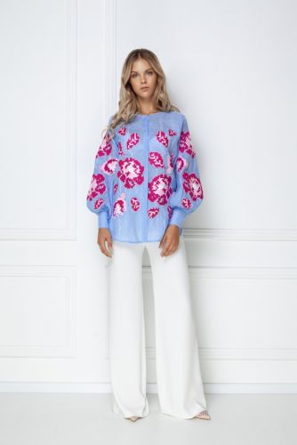«Камелия» голубая блуза