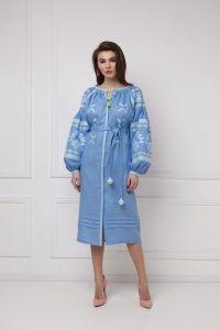 """Вишиті плаття """"Тіна"""" блакитна сукня-міді"""