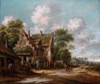Вид деревенской улицы с таверной и крестьянами