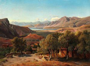 Гурлитт Луис Итальянский пейзаж с домиками и оливковыми деревьями