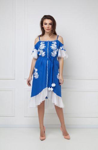 «Дейзи» синий сарафан с открытыми плечами
