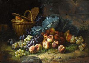 Брюнель де Нёвиль Альфред-Артур A still life wit peaches and grapes