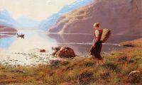Молодая девушка в фьордах