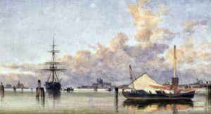 Кук Эдвард Уильям Лодки на берегу Венецианской лагуны