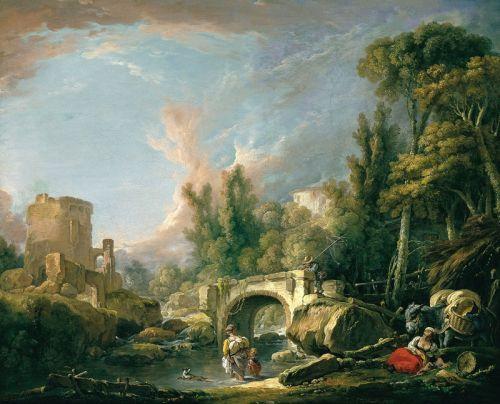 Речной пейзаж с руиной и мостом