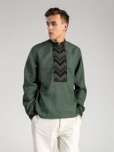 Мужские вышиванки Оригинальная вышитая рубашка из темно-зеленого льна